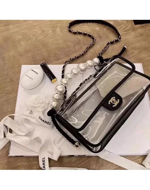 シャネルショルダーバッグ 透明ゼリーカバー 真珠付き お洒落小香風 レディース向け