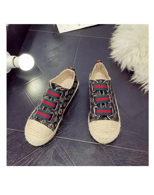 グッチ シューズ わらプリント漁師靴フラット靴