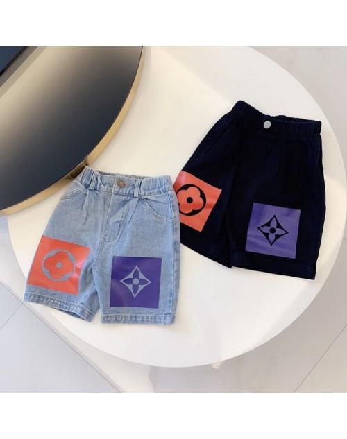 ルイヴィドン 半ズボン 子供向け 五分のデニムショーツパンツ お洒落プリント付き カジュアル ファッション潮流