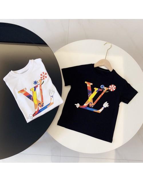 ルイヴィドン tシャツ半袖 子供と大人向け お洒落可愛いlogo付き コットン製 カジュアル 親子服 男女兼用 潮流人気