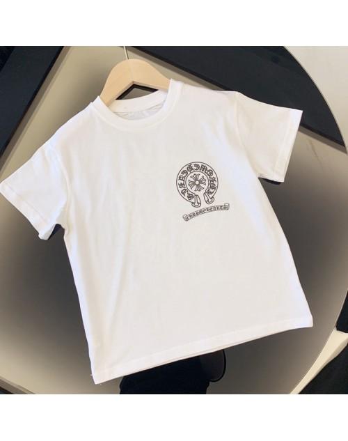 クロムハーツ Tシャツ半袖 子供と大人向け お洒落logoプリント付き パロディ風  コットン製 カジュアル トップス 白黒選べ ファッション潮流 親子服