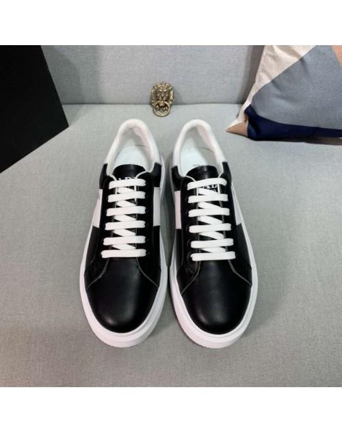 プラダ シューズ スニーカー カジュアル風 革製 人気 韓国風 ファッション メンズ向け