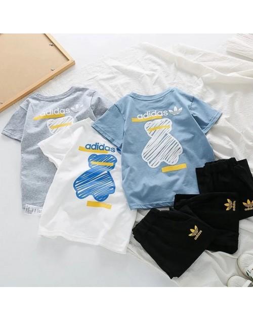 アディダス tシャツ 子供服 上下セット 半ズボン 丸首 コットン トップス プリント