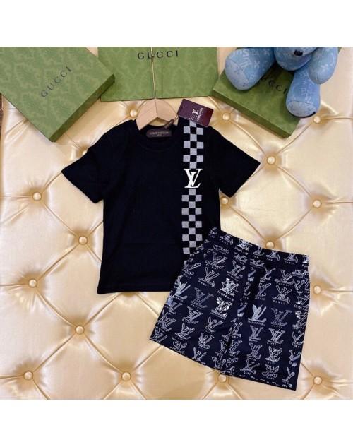 ルイヴィトン tシャツ 子供服 上下セット 半袖 コットン 丸首 トップス 綿 ジェンダーレス カジュアル 白 黒