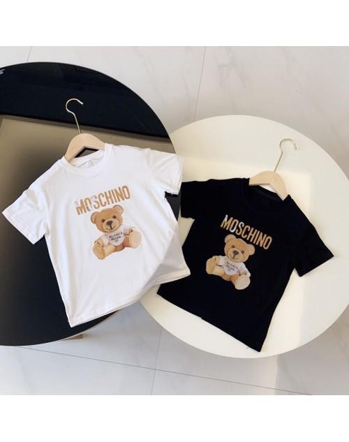 モスキーノ tシャツ 半袖 コットン トップス プリント レディース おしゃれ ゆったり メンズ 夏物 ジェンダーレス 服 カジュアル 部屋着 子供服  親子